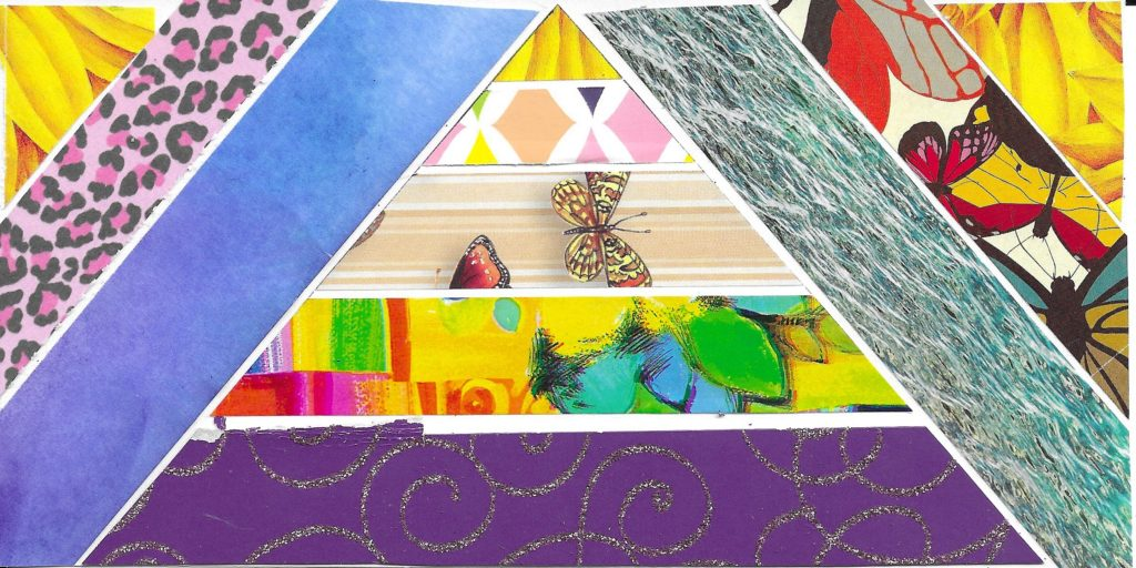 Pyramid collage art of Maslow's hierarchy of needs